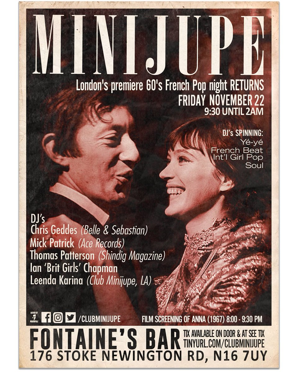 This Friday, allez vous to Stoke Newington for Club Minijupe, a fabulous evening of fantastic music, where I'll be spinning a couple of sets of international pop, and there'll be a screening of rare Serge Gainsbourg movie 'Anna'. C'est going to be magnifique! @clubminijupe