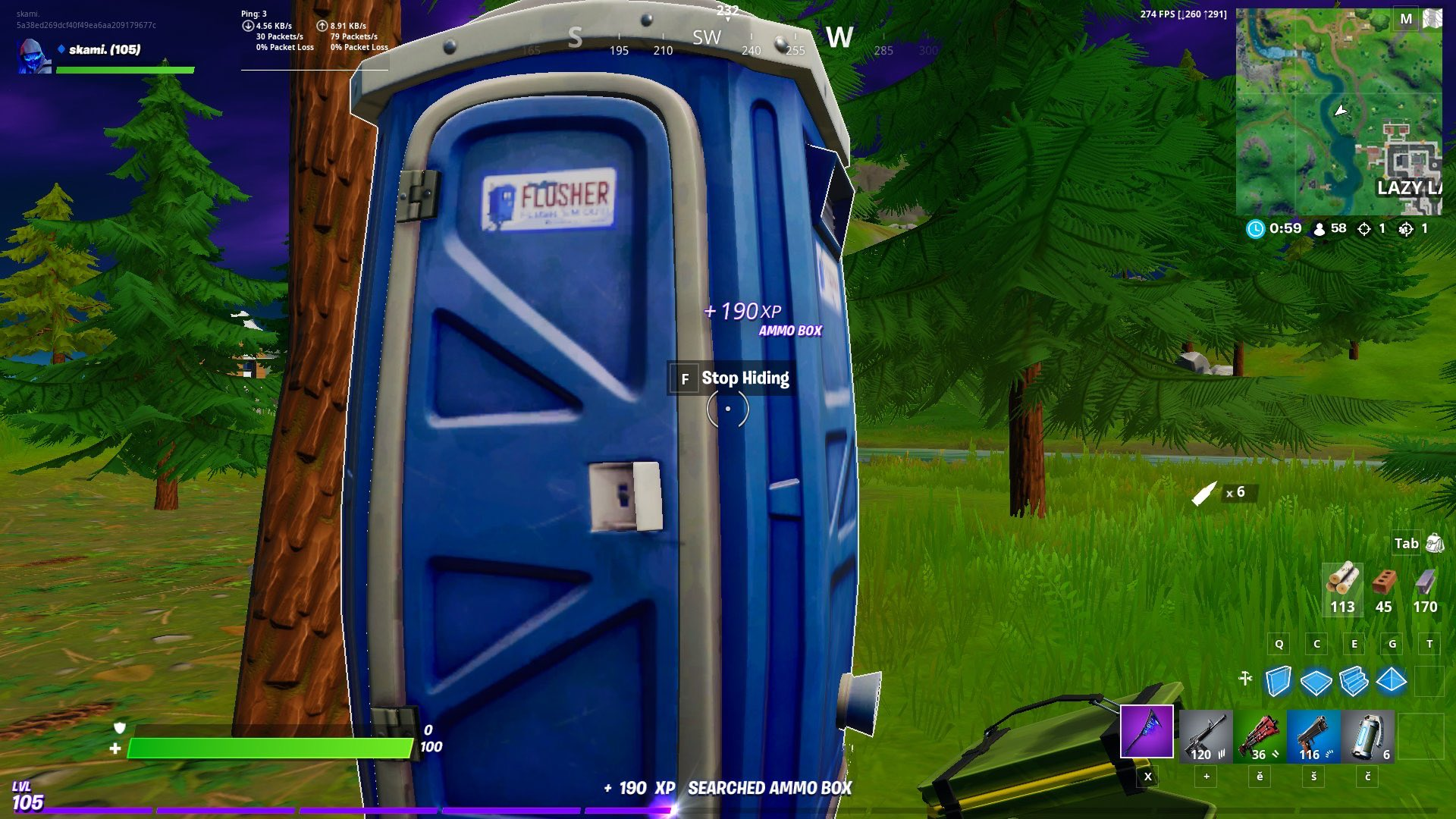 Players can now hide in Fortnite's portable toilets