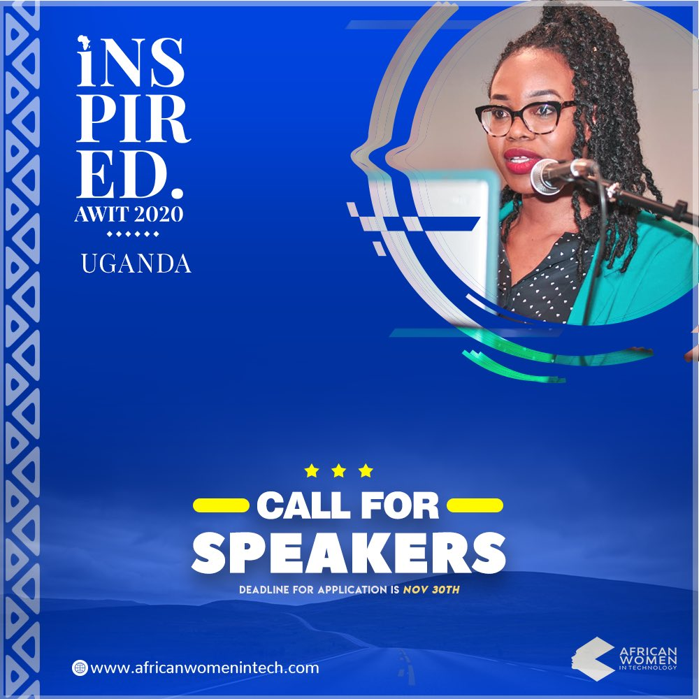 Uganda!  Our call for speakers at the #AWITUganda20 is still open. Register today via http://www.africanwomenintech.com/speaker-submission/… and we'll be in touch! Share the news with brilliant women in tech of Uganda. #womenintech #tech #uganda #africapic.twitter.com/jYJPIEyLwf