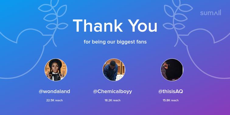 Our biggest fans this week: wondaland, Chemicalboyy, thisisAQ. Thank you! via https://sumall.com/thankyou?utm_source=twitter&utm_medium=publishing&utm_campaign=thank_you_tweet&utm_content=text_and_media&utm_term=471ad1ff2f81ba473bacfdcf…