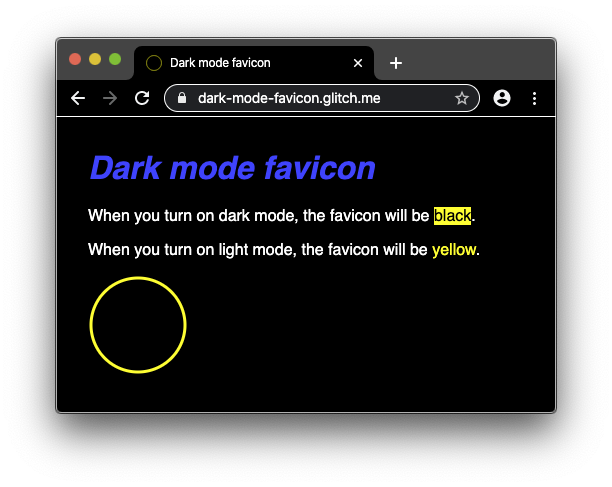Demo app running in dark mode, showing the dark mode favicon being used.