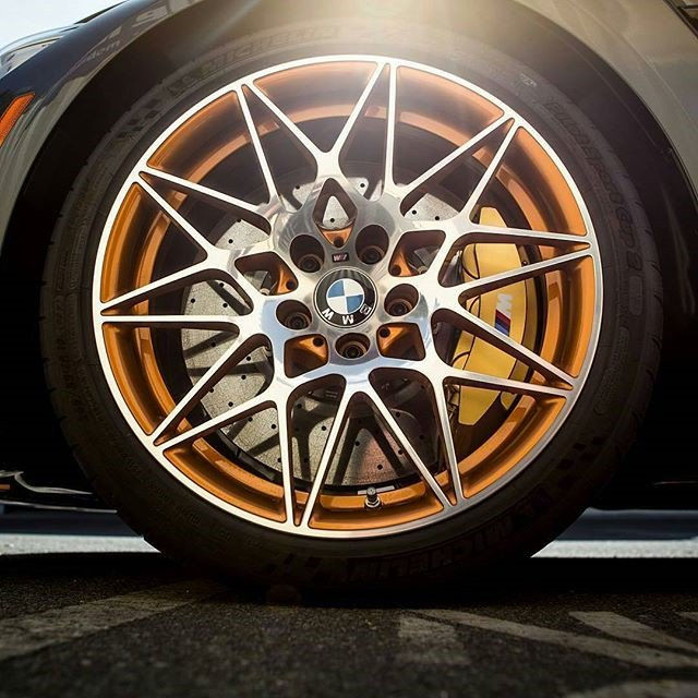 #BMW M4 GTS braking detail! Carbonceramic disc and 6 piston #brembo caliper, the perfect way to bring #style and #performance together!