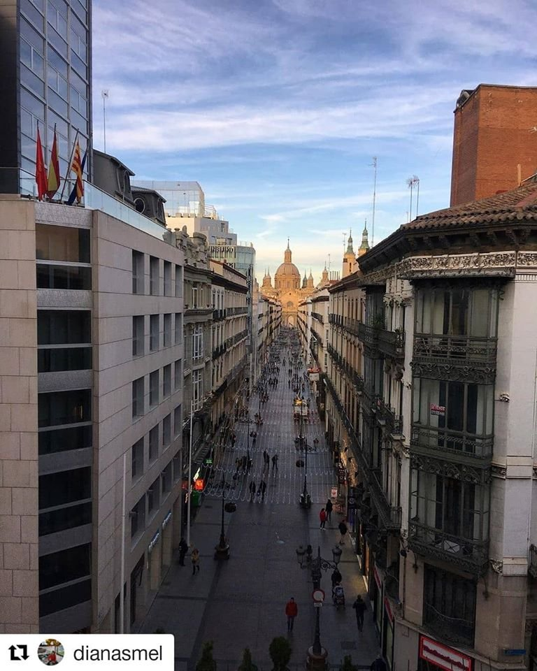 Let's begin the day with this spectacular view of one of the most emblematic streets of #Zaragoza, Calle Alfonso, which will turn into one of the most Instagrammable places of the city this next #Christmas 🎄🎅 .📷 IGDianasmel .#WelcometoZGZ #ChristmasIsComing