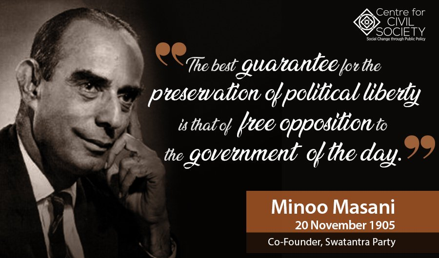 On his 113th birth anniversary, CCS remembers #MinooMasani; co-founder of #SwatantraParty. A prolific writer, lawyer, intellectual, journalist, parliamentarian and a diplomat; Masani courageously kept alive the spirit of #liberalism in India.Read more: https://tinyurl.com/qry9zt8
