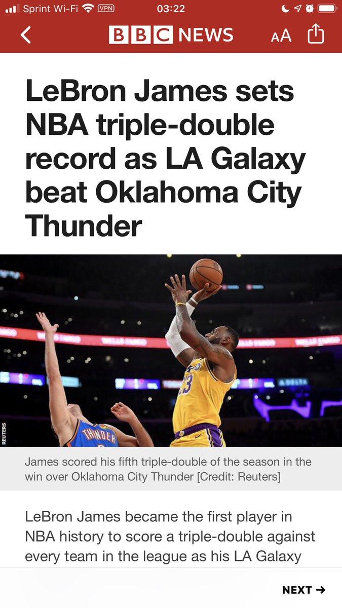 Come on @BBCNews!!!  LA Galaxy???  LeBron playing for the LA Galaxy???https://apple.news/Aid5ZHLzXQqqHq8LnDH9e1A…
