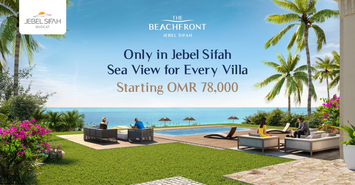 The Beachfront now launched! Sea view for every villa. Oman National Day's exclusive prices! From OMR 78,000. Residency for all nationalities. Call 80045555 or Visit https://t.co/6EmWF8HVVs https://t.co/mJQgGjXfuW