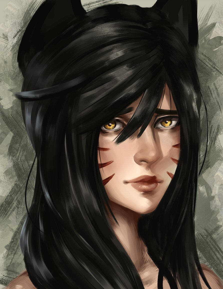 Tried doing a portrait in color. Still have so much to learn that it drives me crazy sometimes, but still, learned a lot and already see a bunch of areas I can improve on~! Ahri from #leagueoflegends #ArtofLegends