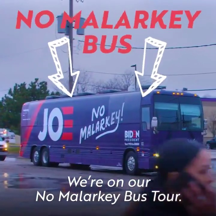 Take a look inside the #NoMalarkey bus with my favorite road trip partner, @DrBiden.