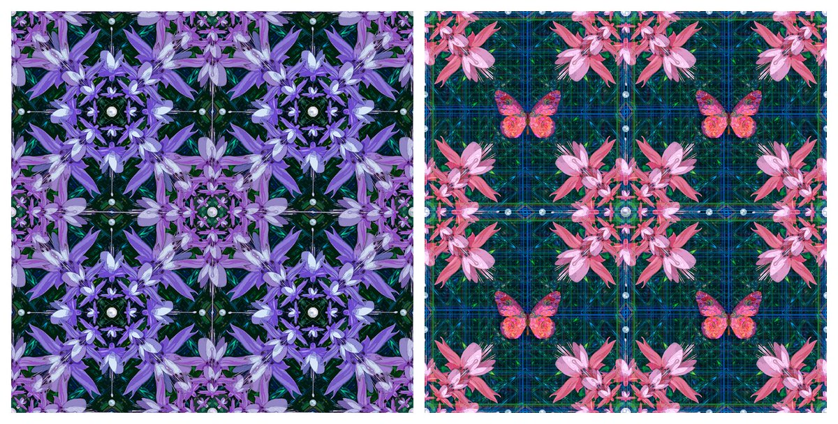 テキスタイルデザイン2点 色々作っている作品をアレンジして連模様のテキスタイルデザインを作ってみました。  #テキスタイルデザイン #グラフィックアート #真珠pic.twitter.com/mprqIeHaQI