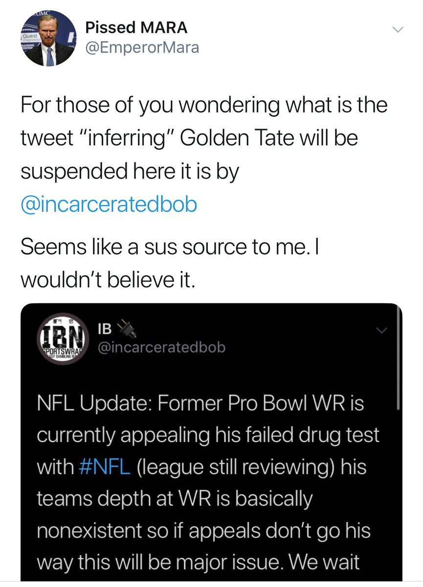 This cuck @allbrightNFL once told his followers Golden Tate wasn't get suspended 🤔 after my report it was happening. I have over 50 tweets destroying this 🤡 + my favorite , him lying about attending Harvard