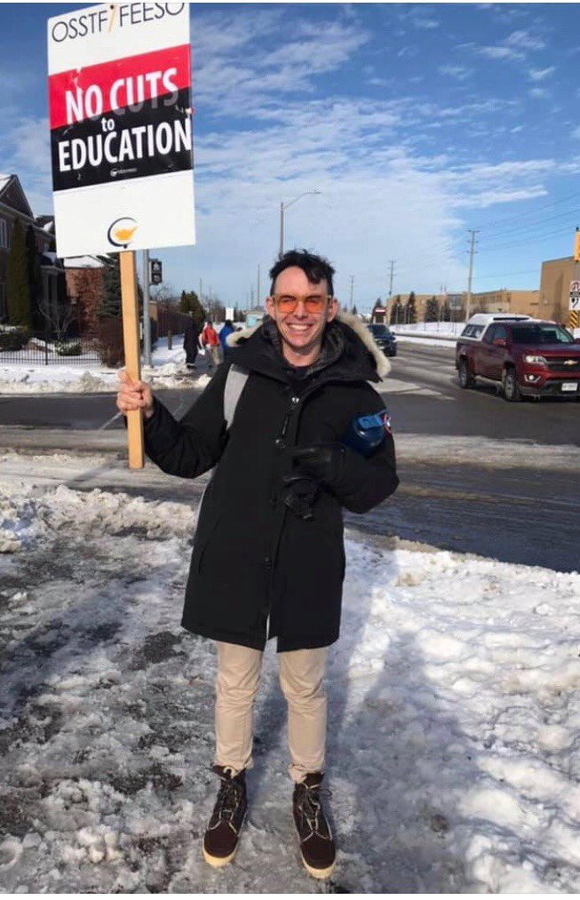 Executive Member Sean Duffy in #solidarity with @osstf on the front lines! #NoCutsToEducation