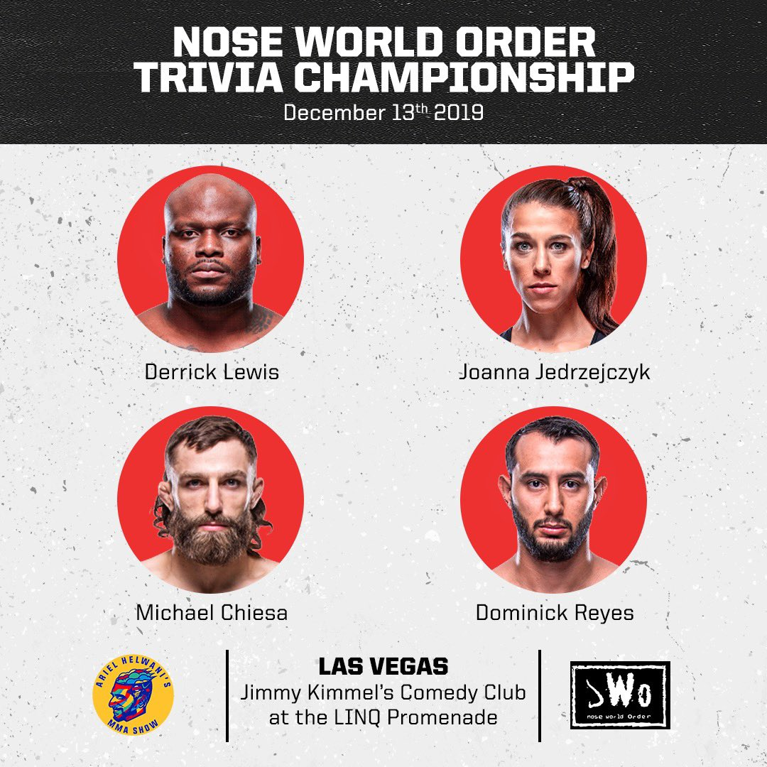 Say hello to the four contestants who will be vying for the extremely prestigious Nose World Order trivia title next Friday, Dec. 13 in Las Vegas during the second #HelwaniRoadShow! Tickets on sale right now, but they are going fast. To purchase: https://www1.ticketmaster.com/espn-presents-ariel-helwanis-mma-show-las-vegas-nevada-12-13-2019/event/39005782ADA61ACF ….