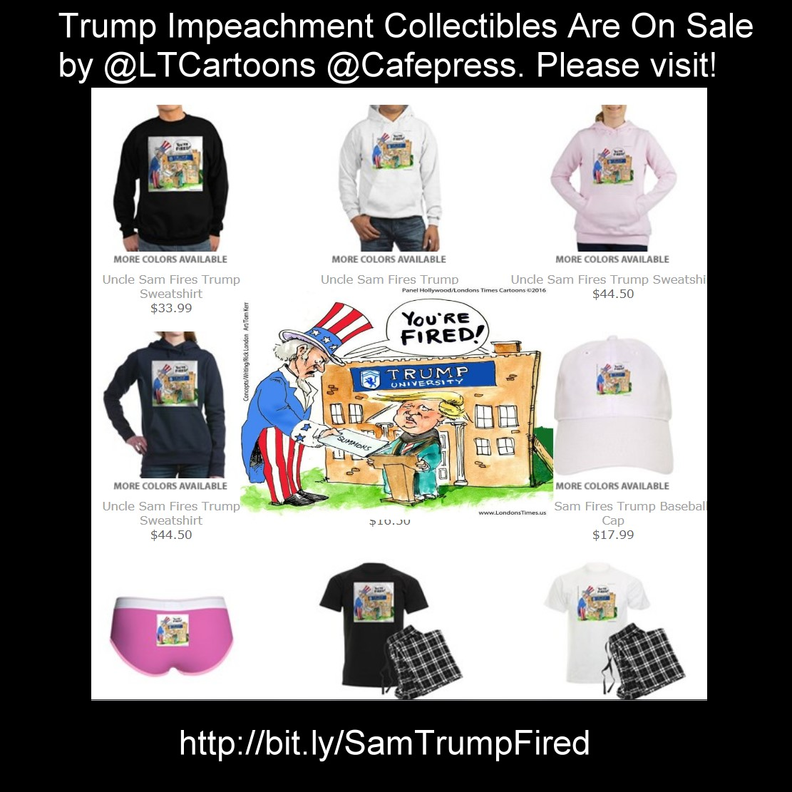 #ImpeachTrump 🎭#tees #cards #mugs etc #exclusive #gifts #humor #funny @LTCartoons @cafepress #gift #deals #discount #parody #cartoons #trump #trumpimpeachment #trumpbribery #theapprentice #unclesam #gifts #politics #impeach No #Code needed Ends Tue