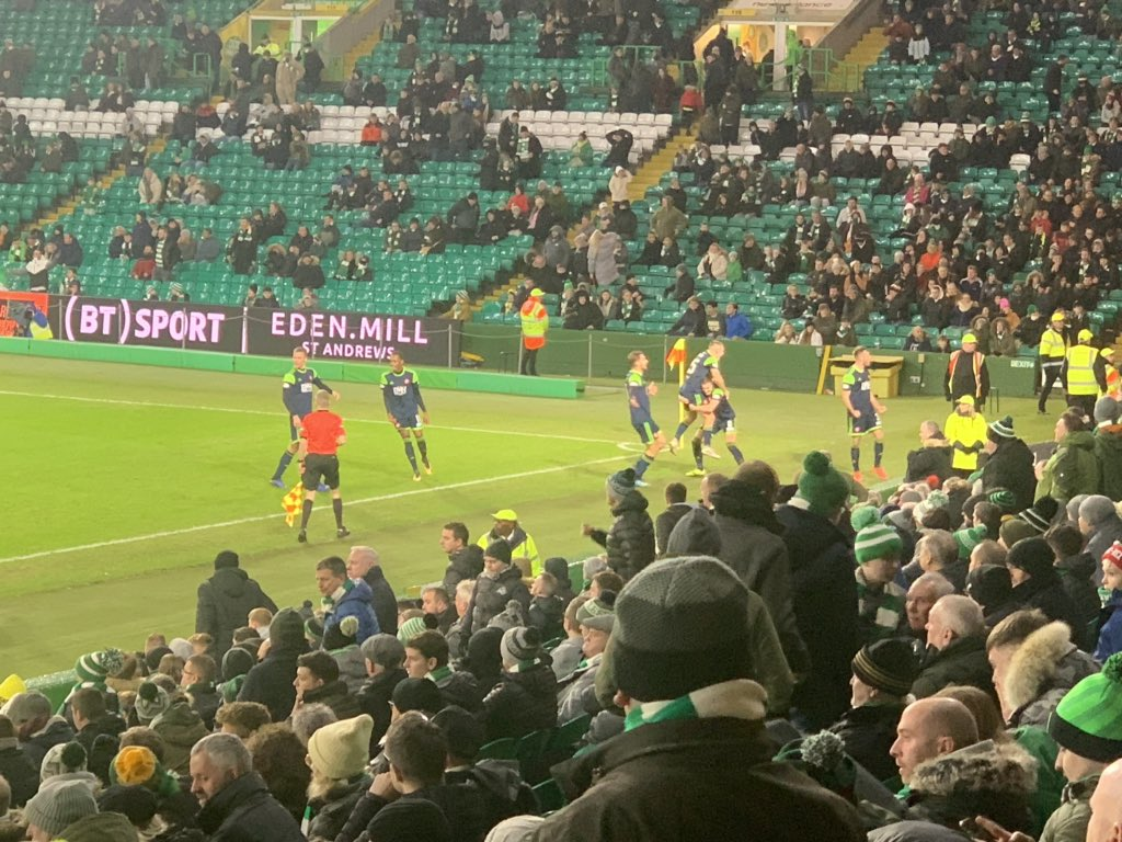 Looks like Celtic fans boycotting the game tonight supporting the £20's plenty campaign<br>http://pic.twitter.com/ESPDDQeUE3