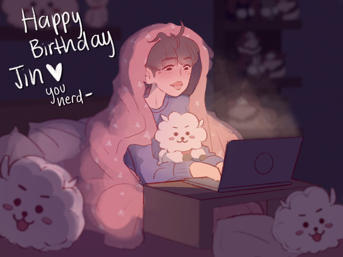 I'm sorry I did this so late, *^* personal life became overbearing but Happy Birthday Jin, AND Soobin like wow just a day difference I love that, but I only drew Jin 😂 #JinOurDecemberStar #JINDAY #JinOurHappiness #JinOurEpiphany
