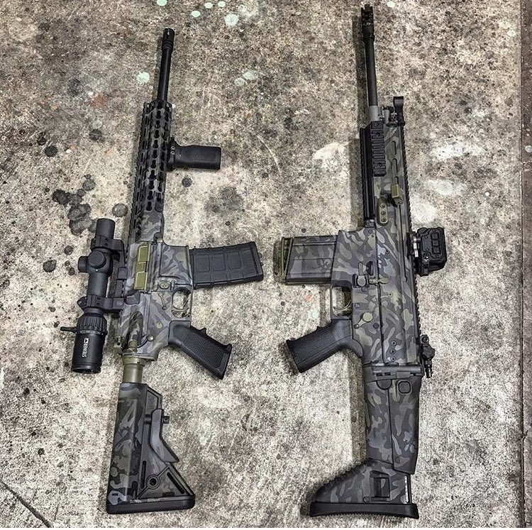 Which would you choose, LEFT or RIGHT??? head on over to http://MYSAVAGECUSTOMS.COM to get your project started. #scar #fnscar #ar15 @savage__customs__ #savagecustoms #beasavage #gun #guns #rifle #multicam #blackmulticam @steineropticsusa @fnh_usa