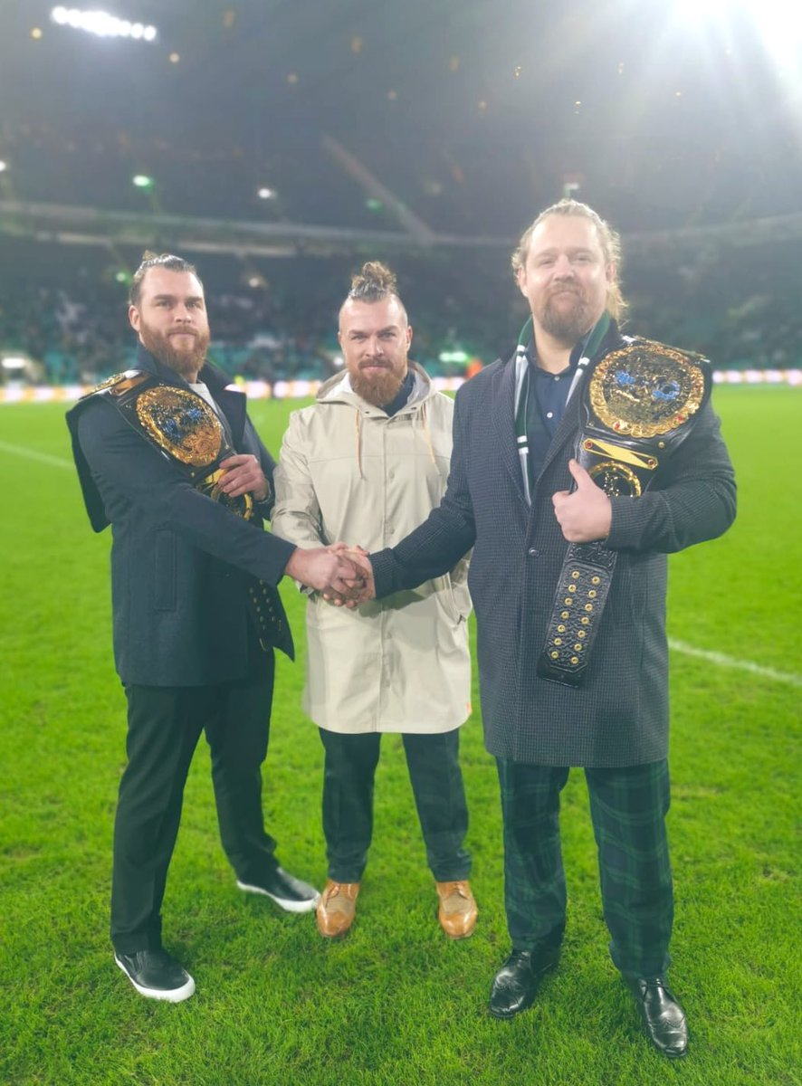 Champions x Champions 🏴 The #Gallus firm were out in full support for @CelticFC's last minute victory tonight...who else but @ScottBrown8? 🍀#NXTUK