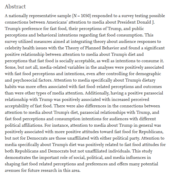 Having a positive parasocial relationship with Trump was positively associated with increased perceived acceptability of fast food. pubmed.ncbi.nlm.nih.gov/31794820-conne… Political psychology meets food psychology. Could get messy