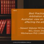 Image for the Tweet beginning: During Australian Arbitration Week @Level27Chambers
