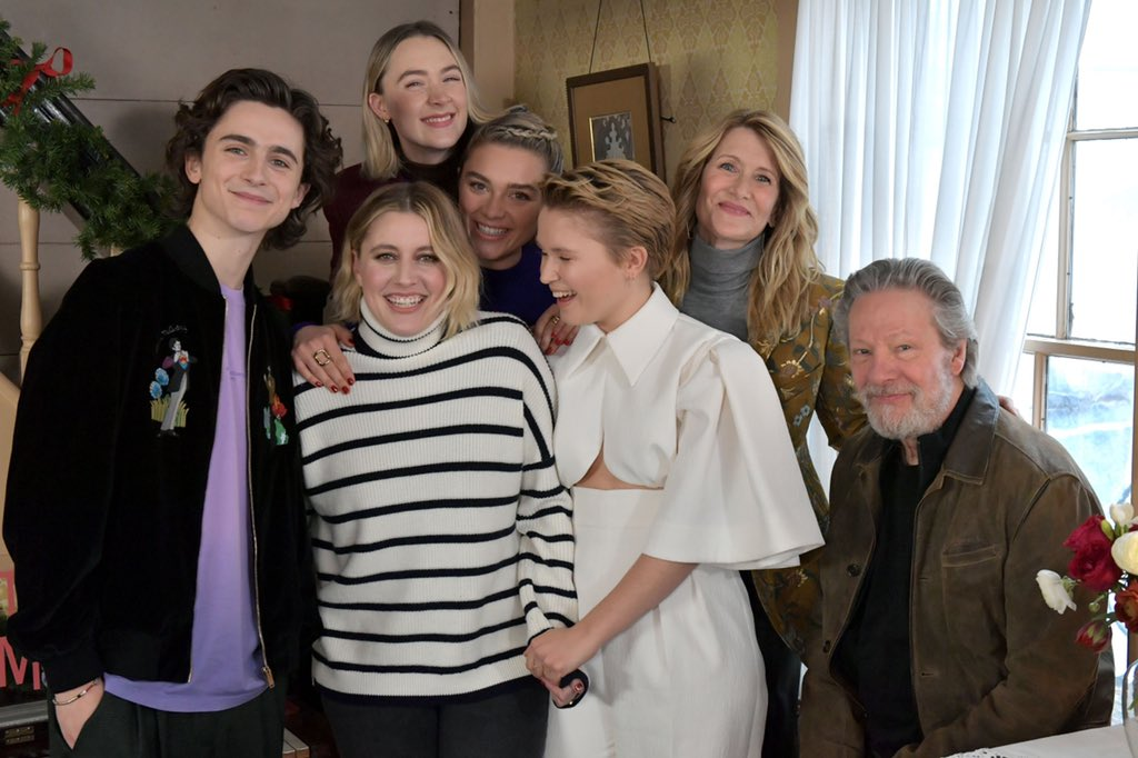 Timothée Chalamet with Saoirse Ronan, Laura Dern, Florence Pugh, Eliza Scanlen, and Greta Gerwig today in Boston for Little Women!  <br>http://pic.twitter.com/90VsUQAUcf