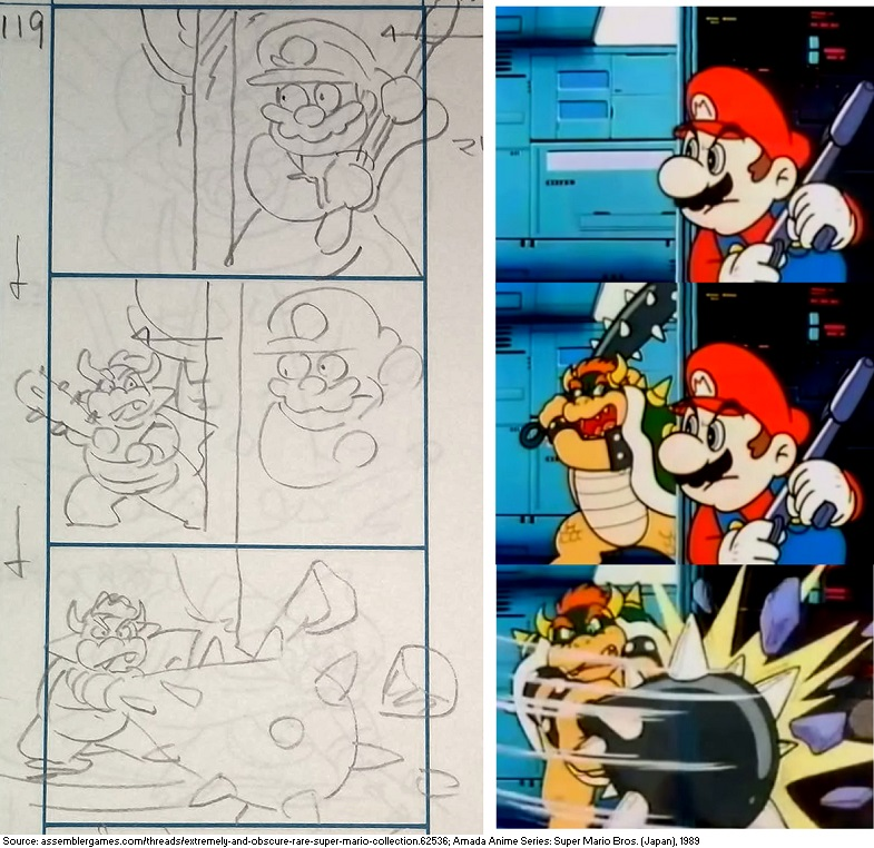 "Storyboard for a scene where Mario tries to ambush Bowser with a gun in the 1989 direct-to-video anime Super Mario Momotarō, alongside the same shots from the finished animation. The story is a loose adaptation of the Japanese folk tale Momotarō, or ""Peach Boy"". <br>http://pic.twitter.com/TefocGZND0"