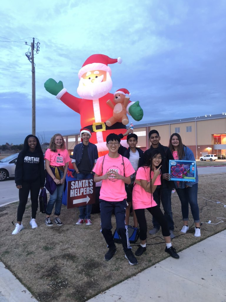 Santa's little (Legacy and PALS) helpers!!!! #TheyFillMyBucket #LoveThemFirst #WeAreHMS #WeAreGCISD #ProudToBeABronco – at Colleyville Heritage High School Tennis Courts