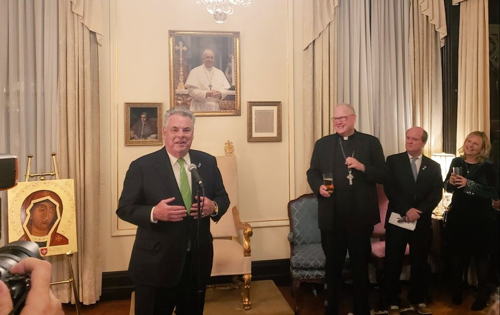 Special guest tonight at NYC #StPatricksDayParade Foundation reception @RepPeteKing with @CardinalDolan looking on.