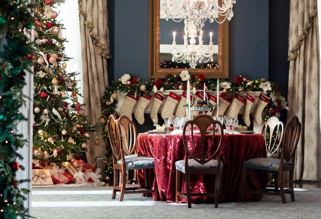 """Excited to reveal this year's Christmas decorations at the @VP  Residence with the theme """"Victorian Christmas!"""" This year's theme focuses on highlighting and honoring the rich history of the Residence. #Christmas2019"""