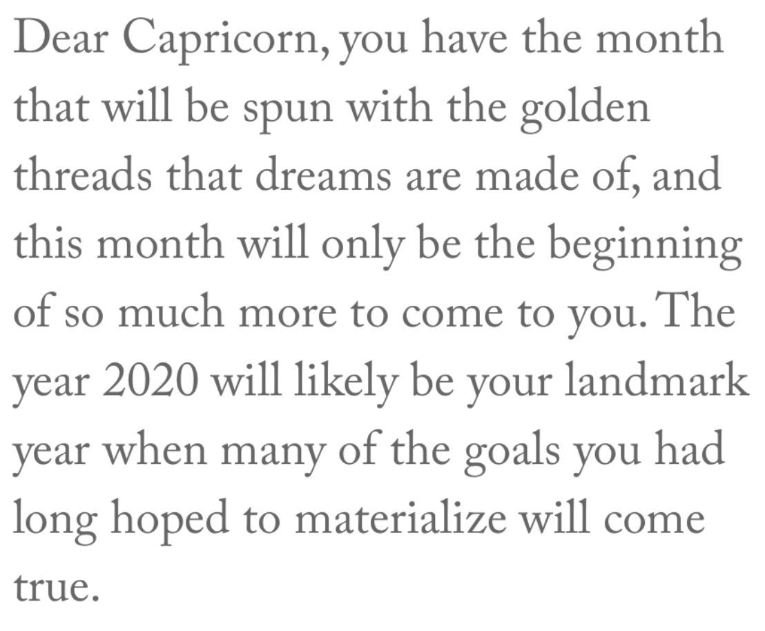 Thank you @astrologyzone for this month's BEAUTIFUL forecast. 2020 will be my landmark year? Exactly what I've been praying for #Amen  #Capricorn #ThisHasBeenARoughYear pic.twitter.com/aliqJnxxQP