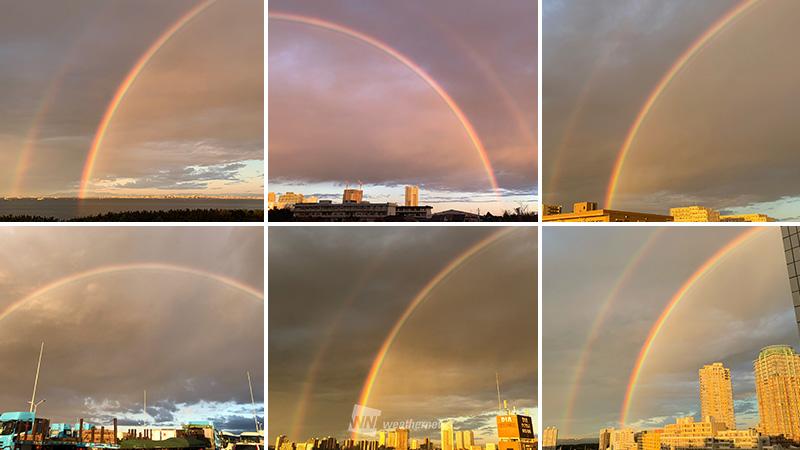 今日3日(火)は日の出を迎える時間帯に、東京都や千葉県、神奈川県など関東南部の沿岸で弱い雨が降り、その雨をスクリーンとして大きな虹が現れました。 一部では二重の虹となっており、朝日に照らされてややオレンジがかって見えています。 weathernews.jp/s/topics/20191… #rainbow #虹