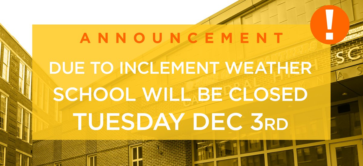 test Twitter Media - Due to impending inclement weather, Cathedral High School in Boston will be closed on Tuesday, December 3, 2019. https://t.co/s682b2YYyt