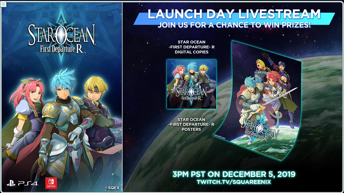 Were close to launch for #StarOcean First Departure R this Thursday, and well be celebrating with a Twitch livestream! Tune in at 3pm Pacific time for prize giveaways and more! twitch.tv/squareenix