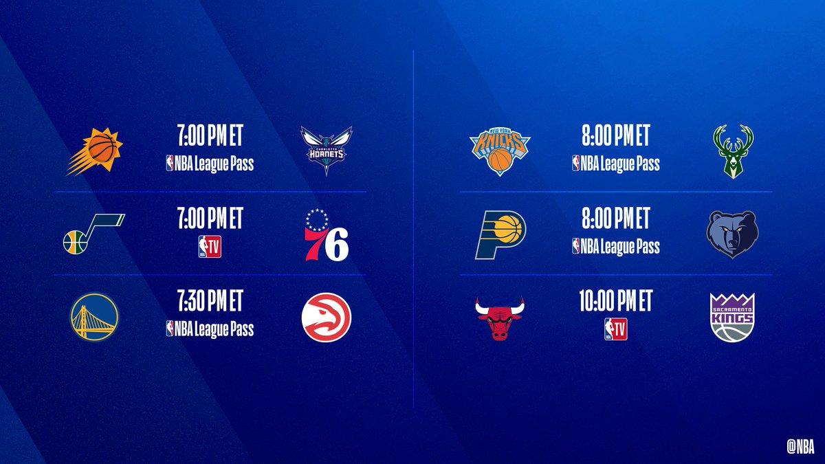 🚨 6-game slate TONIGHT! 🚨  ▪️ @Bucks seek 12th straight W ▪️ @sixers 9-0 at home ▪️ @DevinBook avg 24.5ppg  📺: @NBATV  📲💻: NBA League Pass ➡️: https://t.co/BoUFKjWr8k https://t.co/j8g4HTRpy8