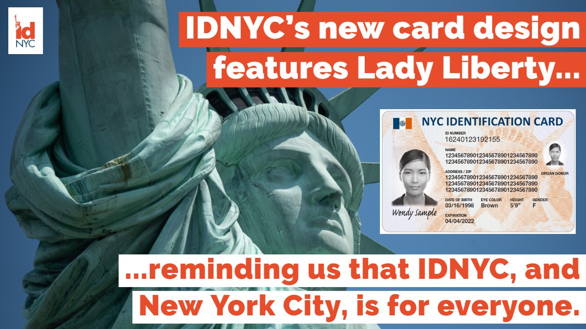 @IDNYC is better than ever: access new benefits & save at more NYC cultural institutions & businesses than ever before—and do it all with a card sporting a new illustration featuring Lady Liberty! #RenewYourIDNYC or schedule an appointment to enroll at NYC.gov/IDNYC