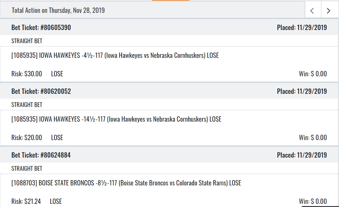 I know it's late but PLEASE! After starting out 3-0 on my 4 team parlay on Thursday, I thought it would be a great weekend. After the Patriots loss I finished 0-7 on straight bets and 0-3 on parlays $kallas3 @BarstoolBigCat #superbadbeatsmonday <br>http://pic.twitter.com/eJIAF8xVsQ