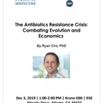 #Atlanta #AMR researchers - join us tomorrow for a special seminar by Dr. Ryan Cirz on Antibiotic R&D, resistance & economics tomorrow 12/3 at 1 pm at Krone EEB @GeorgiaTech ! Event co-hosted by @EmoryMedicine & @GaTechMicrobes  #antibiotics #AntibioticResistance #DrugDiscovery