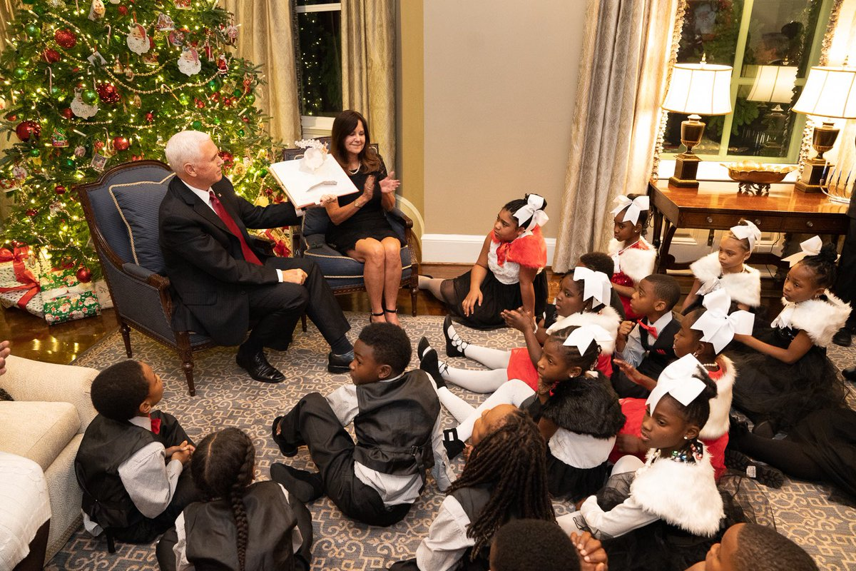 """It has been a tradition in our family to read """"The Night Before Christmas"""" and we were excited to share that tradition tonight at the @vp  Residence with 3rd grade students from Eagle Academy! Thank you for joining us for a special night!📖"""