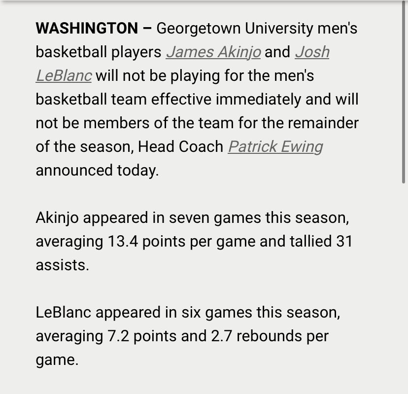 Big announcement from Georgetown - starting point guard James Akinjo and reserve big man Josh LeBlanc are no longer playing for the team. <br>http://pic.twitter.com/VcSJ7zJAQL