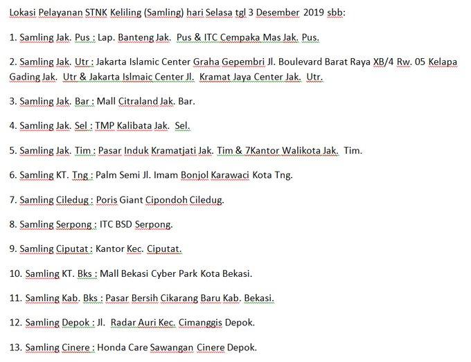 Lokasi Pelayanan STNK Keliling (Samling) hari Selasa tgl 3 Desember 2019 sbb: