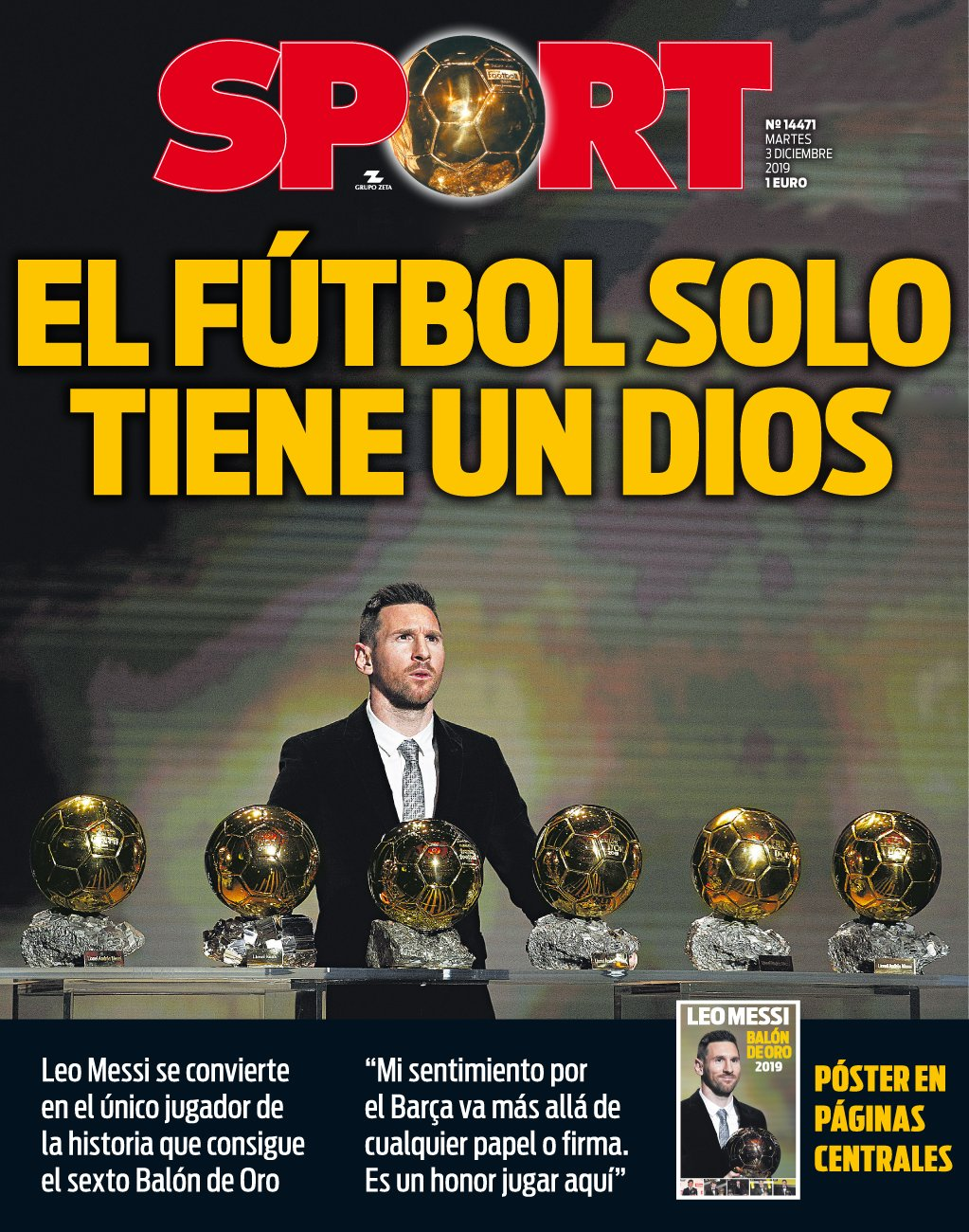 """""""У футбола есть только один Бог"""". Мировые СМИ - о шестом Золотом мяче Месси - изображение 1"""