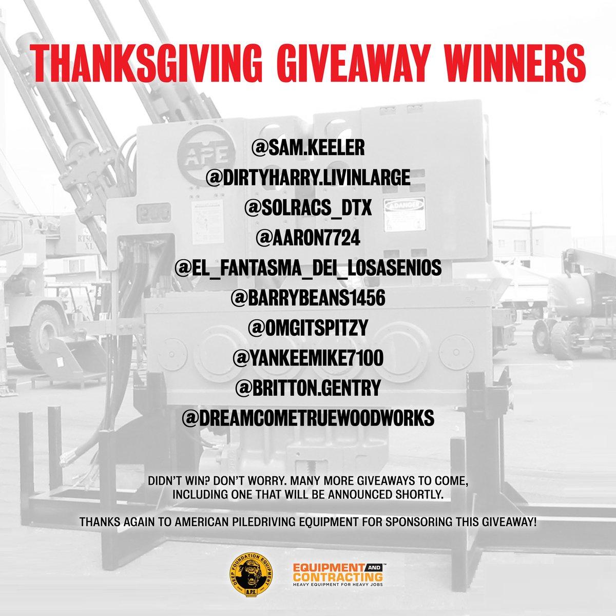 View Instagram Thanksgiving Giveaway Winners Here...  #equipmentandcontracting #pilebuck #goape