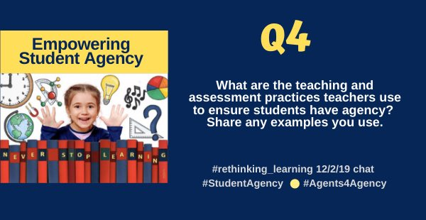 A4) provoke thinking: build a culture of thinking and stimulate curiosity - they'll be asking questions and dying to find out and take action - carefully planned from structured (skills) to free inquiry create - document  👀 👂 . #rethink_learning #Agents4Agency #studentagency
