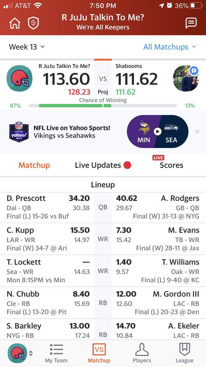 Yahoo apparently thinks there's a 13% chance that Tyler Lockett catches a pass, loses 5 yards then fumbles while getting knocked out for the rest of the game. <br>http://pic.twitter.com/lsadmeSUWS