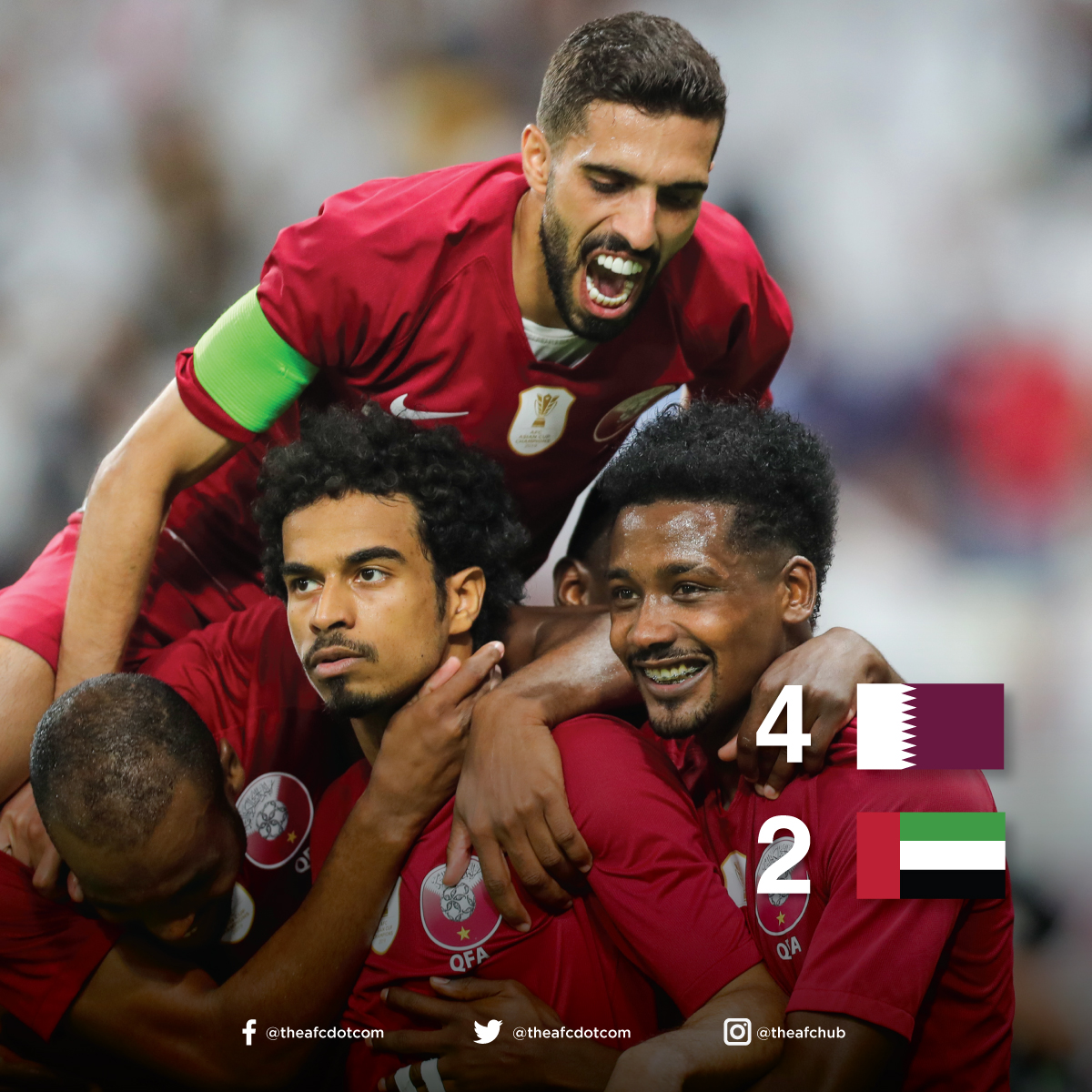 The newly crowned AFC Player of the Year, Akram Afif bags two goals as 🇶🇦 win over 🇦🇪! A draw is enough for 🇮🇶 to finish as Group A winners! #GulfCup
