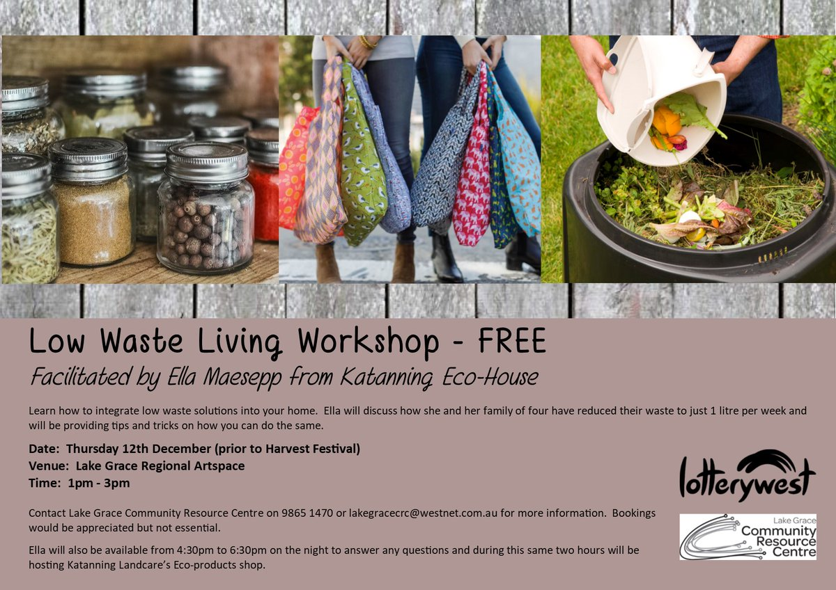 I'm heading to Lake Grace next week! Join me for a full Low #Waste Living workshop at 1pm, or come and talk rubbish with me at the Harvest Festival (I'll be at the Katanning #Landcare @landcarekat stall). #LakeGrace. https://t.co/qbMPsyVkzf