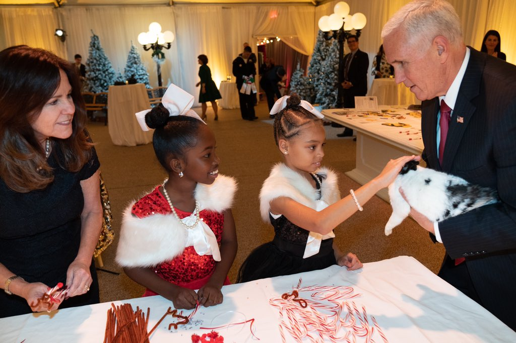 Wonderful evening hosting Eagle Academy's third grade students at the @VP  Residence with a reindeer craft table and a @RedCross  table to write letters to our service members overseas. And we had a special guest join for the festivities too, Marlon Bundo! 🎄