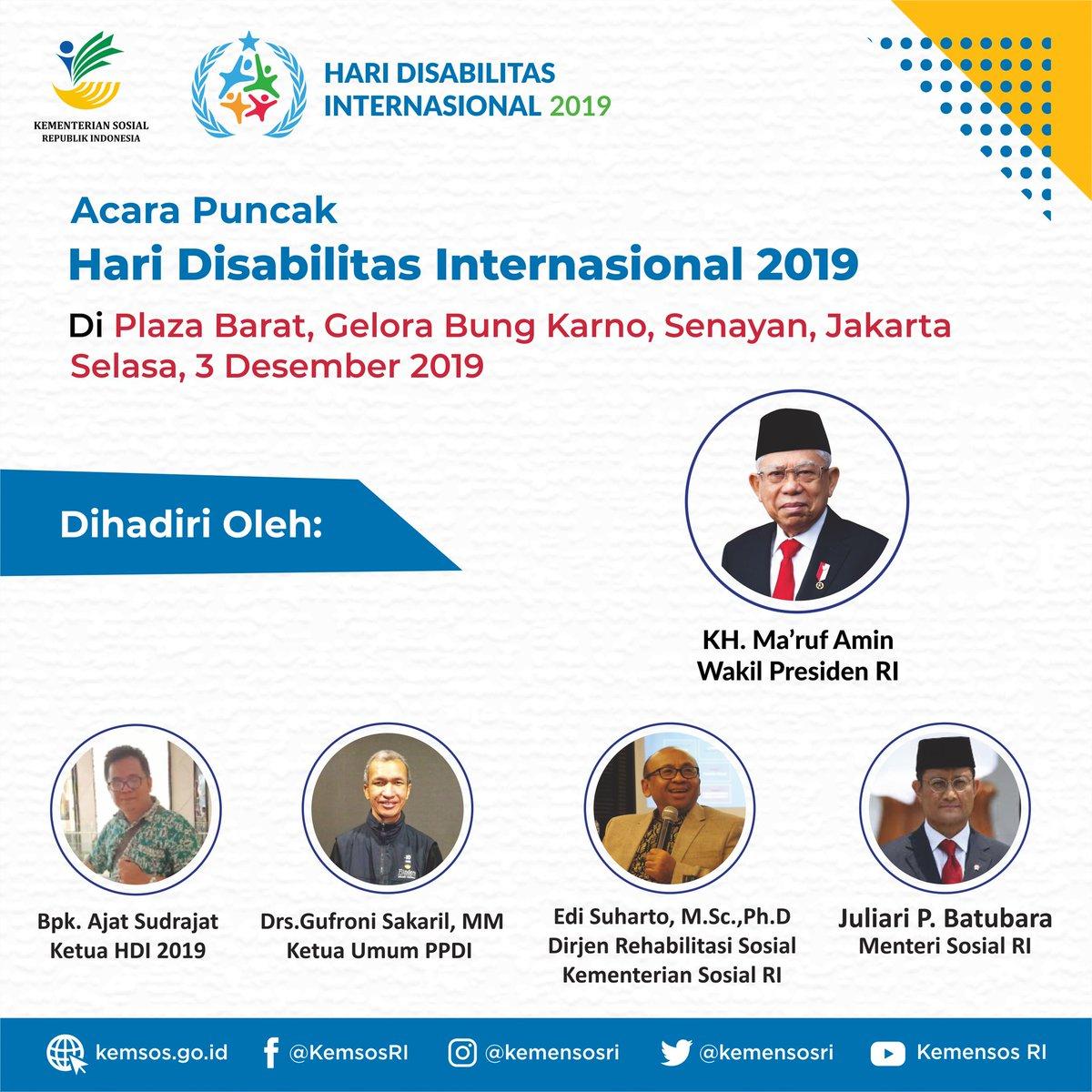 "Hari ini digelar acara Acara Puncak HDI 2019 di Senayan Jakarta. #Kemensos mengajak publik merayakan HDI bersama para penyandang disabilitas dan perkuat penghormatan serta perlindungan hak-hak penyandang disabilitas menuju ""Indonesia Inklusi, Disabilitas Unggul"" 🇮🇩#IndonesiaMaju"