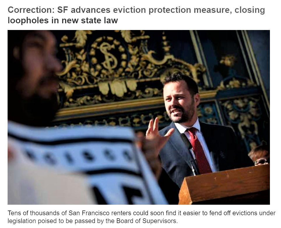 Tens of thousands of #San_Francisco renters could soon find it easier to fend off #evictions under legislation poised to be passed by the Board of Supervisors  https://www.sfchronicle.com/bayarea/article/SF-advances-eviction-protection-measure-closing-14876860.php?utm_campaign=premiumsfgate_breakingnews_20191202&utm_source=newsletter&utm_medium=email …  #Homelesspic.twitter.com/XKzp6CCDIw