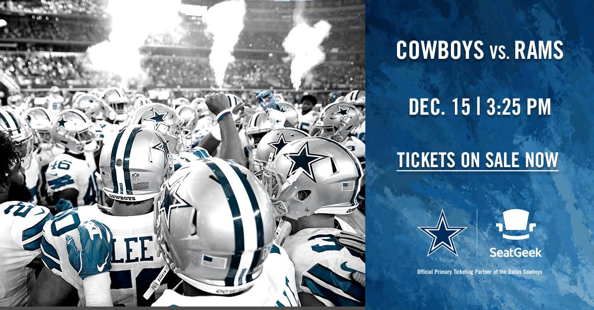 Be there at #ATTStadium when the @dallascowboys return to Arlington to take on the @RamsNFL on Dec. 15th! Tickets are going fast so get yours before they're gone.→ bit.ly/2OLbZCm
