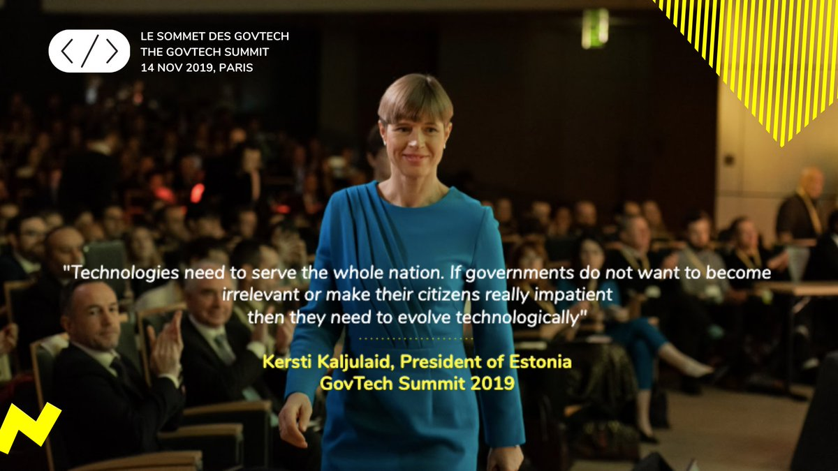 """If governments don't want to be totally irrelevant they have to use innovative technology"" - @KerstiKaljulaid at the #GovTechSummit 🚀"